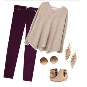 refuge Pants - Maroon/purple skinny jeans