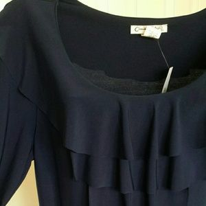 Claudia Richard Tops - Ruffled Navy Blue Blouse by Claudia Richard -NWT