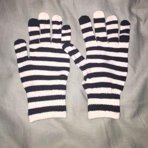 Merona Accessories - Black and white stipe gloves Nwot jail bird