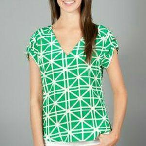 Amanda Uprichard Tops - Amanda Uprichard Green and white silk top size M