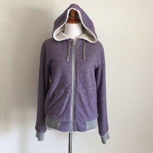 Stussy Jackets & Blazers - Stussy Purple Hooded Jacket w/ Faux Fur Lining