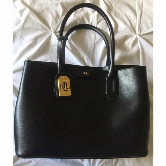 f20bd04ab5b0 Ralph Lauren Tate City Black Saffiano Leather Tote.  M 58069021713fded003002524