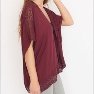 NWT Garage Kimono With Crochet in Burgundy