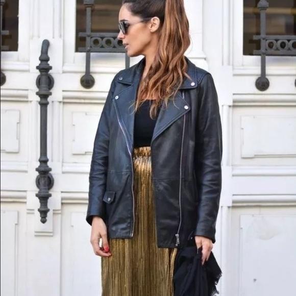 a5921696c Oversized leather biker jacket