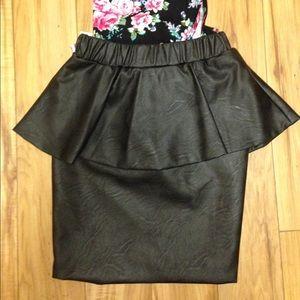 Leather Peplum skirt