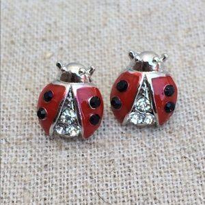 Silver Tone Red & Black Crystal Ladybug Earrings