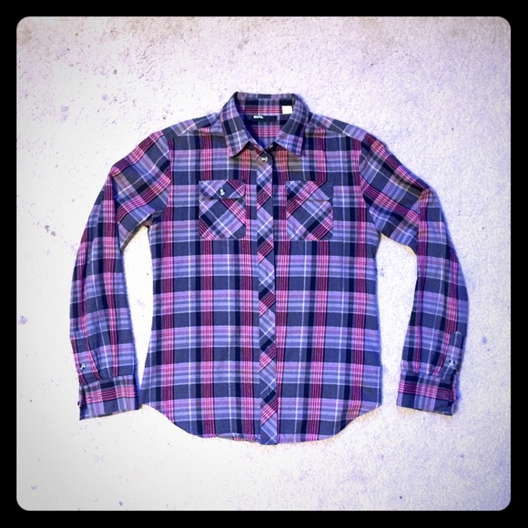 63 Off Bdg Tops Bdg Pink Grey Flannel Button Up Long