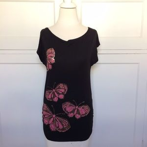 H&M Black Pink Butterfly Tunic Top