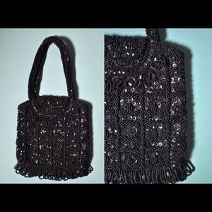 Vintage 40s / 50s Black Beaded Handbag