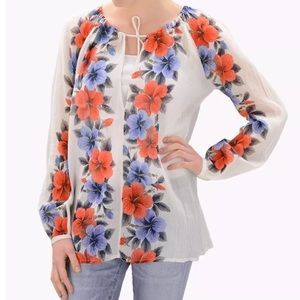 Antik Batik Tops - ANTIK BATIK Floral Print Top Gauze Bohemian Tunic