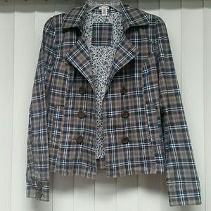 ♡Maurices plaid blazer jacket coat blue brown tan♡