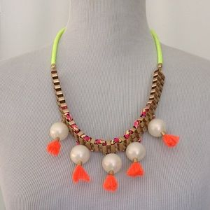 Neon Yellow Orange cord with Faux pearls necklace