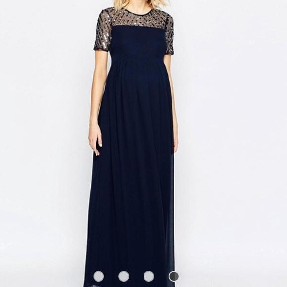 Navy chiffon embellished maxi dress