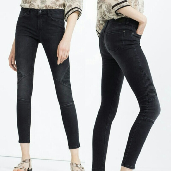 19bedba4 Zara Black Mid Rise Biker/Moto Skinny Jeans. M_5806b1ff13302afe9e007afb