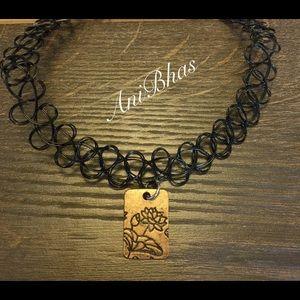 Lotus Tattoo Choker Necklace