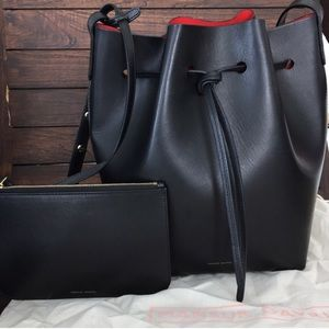 Mansur Gavriel black with red interior bucket bag