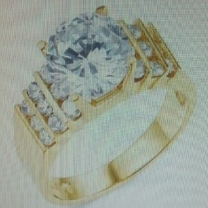 SOLID 14K YELLOW GOLD ENGAGEMENT RING