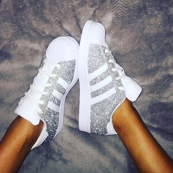 Adidas Superstar Glitter Sneakers. Size 7
