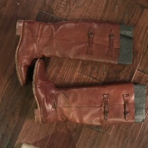 Folk Shoes - Brown riding boots- real leather