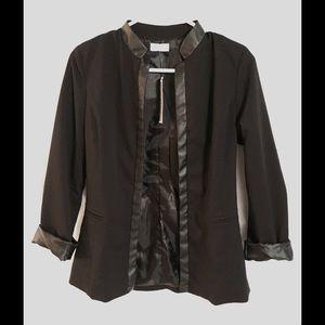 NWT Open Black Blazer w/ Leather Detail