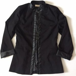 NWT Fitted Black Blazer w/ Leather Detail