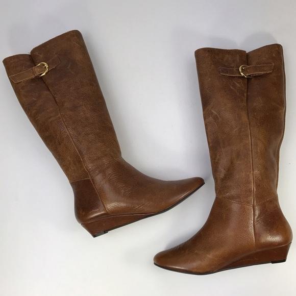 27f6f40e205  Steve Madden  Intyce Cognac Leather Boots Wedge 6.  M 5806d1d04e8d174be800d47a