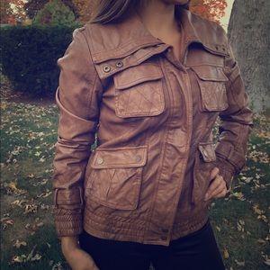 Jackets & Blazers - Caramel leatherette moto jacket