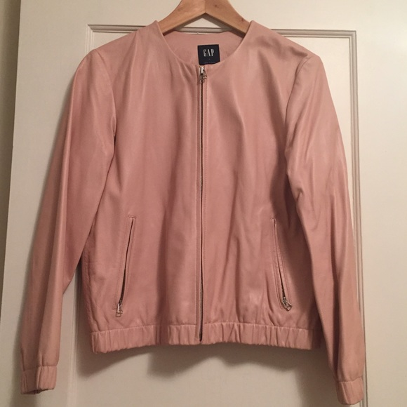 73% off GAP Jackets & Blazers - Pastel pink real leather bomber ...