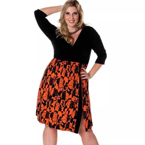 Igigi Dresses Taylor Plus Size Orange Black Dress 1820 Poshmark