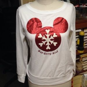 Disney Parks Mickey snowflake sweatshirt xs new