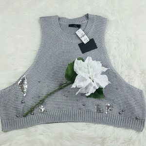 Story of Lola  Sweaters - 💞SALE💞 Story of Lola Gray Embelleshed Vest
