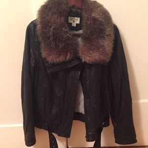 Converse Jackets & Blazers - Leather moto jacket with faux fur removable collar