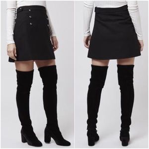 Topshop Dresses & Skirts - Topshop Black Wool Blend A-Line Button Skirt