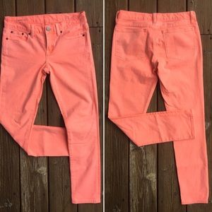 "J. CREW ""Toothpick Ankle"" Jeans in Bright Coral"