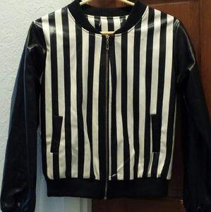 Women's Black & White Striped Jacket Sz. S