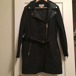 KORS Michael Kors Jackets & Blazers - Trench w/ faux leather, detachable hood & lining