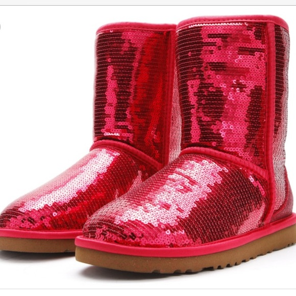 UGG Red Sequin Sparkles Short Boots Size 10