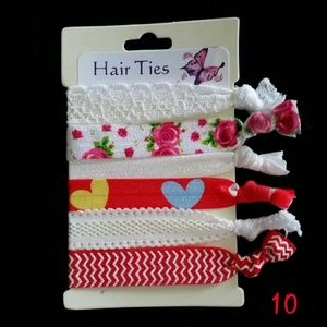 3/$12 Hair Ties - Red & White (set #10)