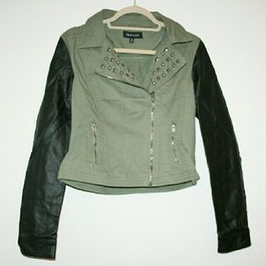 New Look Jackets & Blazers - Studded Twill & Faux Leather Jacket NWOT