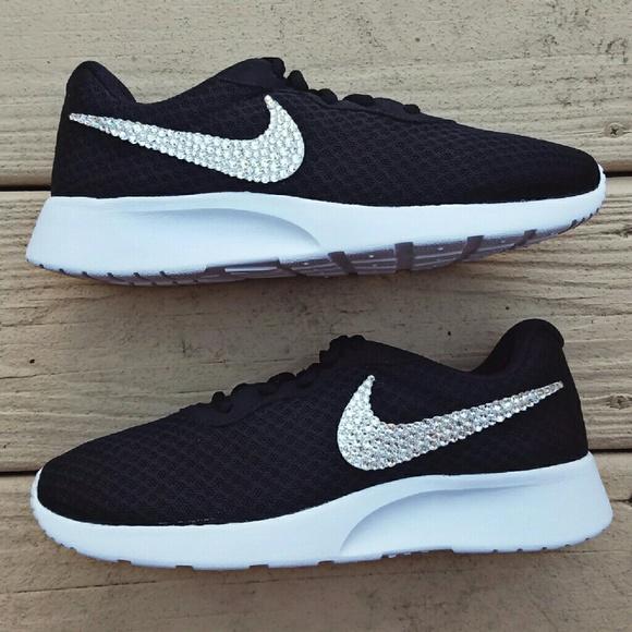 promo code e56f3 29334 Swarovski Crystal Bling Nike Tanjun Black
