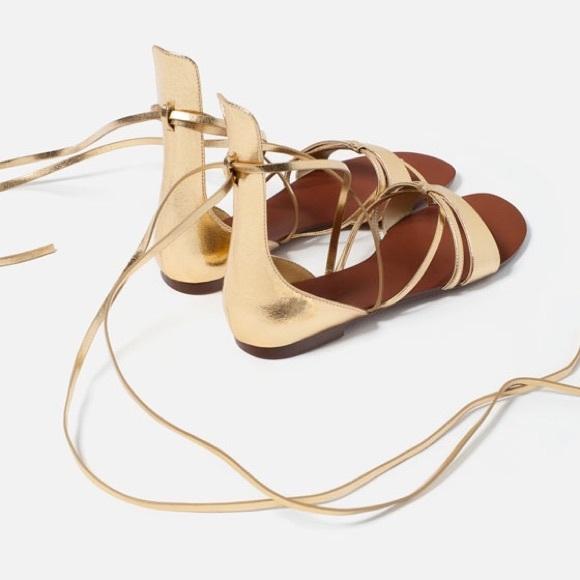 Flat ShoesGold Zara Lace Poshmark Up Sandal lTJcFK1