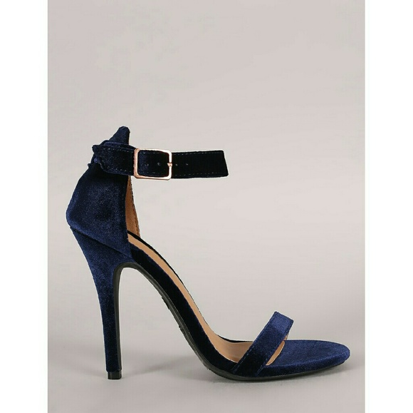 423837c0175 Navy Blue Velvet Stiletto Heels Sandals NEW 10