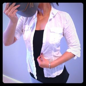 ✨Host pick✨Perfect white linen button down