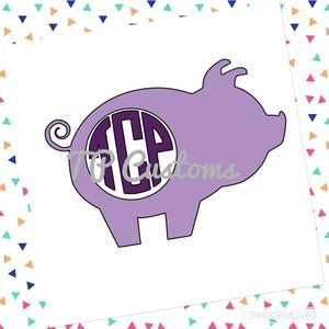 Other - Cute piggy monogram decal, yeti, RTIC, car