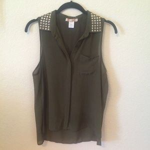 Katie K Tops - Army Green Tank with Gunmetal Accents