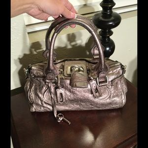 Chloe' Paddington Metallic Pewter satchel