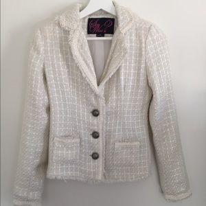 White Tweed Blazer with Fringe Detail