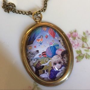 Big eyes glass pendant necklace Keane