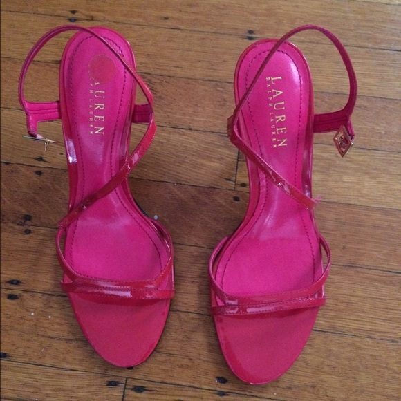 927bfdf5ef2 Pink strappy heels. NWT. Lauren Ralph Lauren