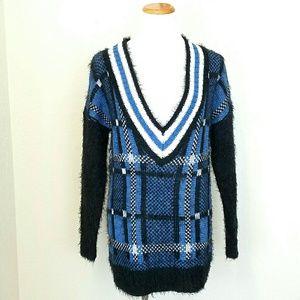 Mona B Sweaters - Oversized V Neck Varsity Sweater